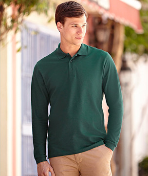 """Premium Long Sleeve Polo"" Fruit of the Loom"